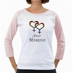 Just Married Lesbian Pride Girly Raglan Front
