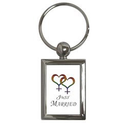 Just Married Lesbian Pride Key Chain (rectangle)