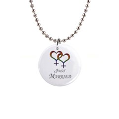 Just Married Lesbian Pride 1  Button Necklace