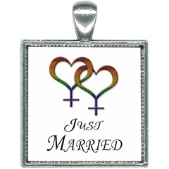 Just Married Lesbian Pride Square Necklace by LiveLoudGraphics