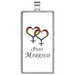 Just Married Lesbian Pride Rectangle Necklace