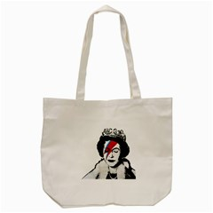 Banksy Graffiti Uk England God Save The Queen Elisabeth With David Bowie Rockband Face Makeup Ziggy Stardust Tote Bag (cream) by snek