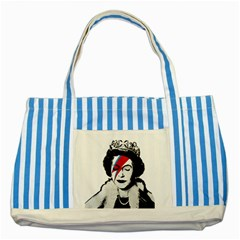 Banksy Graffiti Uk England God Save The Queen Elisabeth With David Bowie Rockband Face Makeup Ziggy Stardust Striped Blue Tote Bag by snek