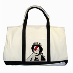 Banksy Graffiti Uk England God Save The Queen Elisabeth With David Bowie Rockband Face Makeup Ziggy Stardust Two Tone Tote Bag by snek
