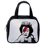 Banksy graffiti UK England God Save the Queen Elisabeth with David Bowie rockband face makeup Ziggy Stardust Classic Handbag (One Side) Front