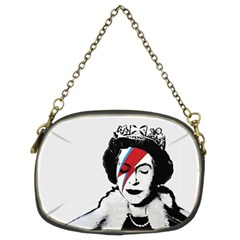 Banksy Graffiti Uk England God Save The Queen Elisabeth With David Bowie Rockband Face Makeup Ziggy Stardust Chain Purse (two Sides) by snek