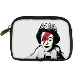 Banksy Graffiti Uk England God Save The Queen Elisabeth With David Bowie Rockband Face Makeup Ziggy Stardust Digital Camera Leather Case by snek