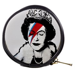 Banksy Graffiti Uk England God Save The Queen Elisabeth With David Bowie Rockband Face Makeup Ziggy Stardust Mini Makeup Bag by snek