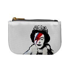 Banksy Graffiti Uk England God Save The Queen Elisabeth With David Bowie Rockband Face Makeup Ziggy Stardust Mini Coin Purse by snek