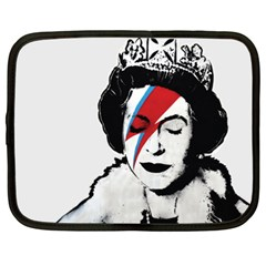 Banksy Graffiti Uk England God Save The Queen Elisabeth With David Bowie Rockband Face Makeup Ziggy Stardust Netbook Case (xl) by snek