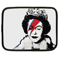 Banksy Graffiti Uk England God Save The Queen Elisabeth With David Bowie Rockband Face Makeup Ziggy Stardust Netbook Case (xxl) by snek