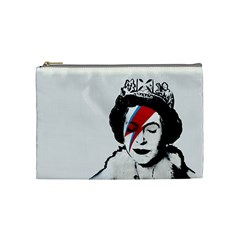 Banksy Graffiti Uk England God Save The Queen Elisabeth With David Bowie Rockband Face Makeup Ziggy Stardust Cosmetic Bag (medium) by snek