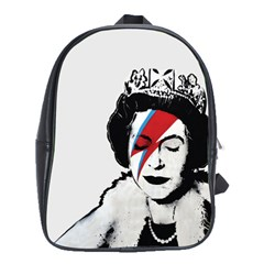 Banksy Graffiti Uk England God Save The Queen Elisabeth With David Bowie Rockband Face Makeup Ziggy Stardust School Bag (large) by snek