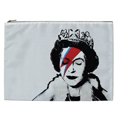 Banksy Graffiti Uk England God Save The Queen Elisabeth With David Bowie Rockband Face Makeup Ziggy Stardust Cosmetic Bag (xxl)
