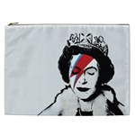 Banksy graffiti UK England God Save the Queen Elisabeth with David Bowie rockband face makeup Ziggy Stardust Cosmetic Bag (XXL) Front