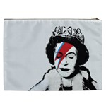 Banksy graffiti UK England God Save the Queen Elisabeth with David Bowie rockband face makeup Ziggy Stardust Cosmetic Bag (XXL) Back