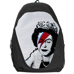 Banksy Graffiti Uk England God Save The Queen Elisabeth With David Bowie Rockband Face Makeup Ziggy Stardust Backpack Bag by snek