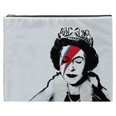 Banksy Graffiti Uk England God Save The Queen Elisabeth With David Bowie Rockband Face Makeup Ziggy Stardust Cosmetic Bag (xxxl) by snek
