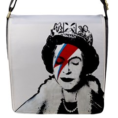 Banksy Graffiti Uk England God Save The Queen Elisabeth With David Bowie Rockband Face Makeup Ziggy Stardust Flap Closure Messenger Bag (s) by snek