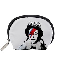 Banksy Graffiti Uk England God Save The Queen Elisabeth With David Bowie Rockband Face Makeup Ziggy Stardust Accessory Pouch (small) by snek