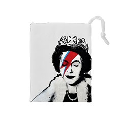 Banksy Graffiti Uk England God Save The Queen Elisabeth With David Bowie Rockband Face Makeup Ziggy Stardust Drawstring Pouch (medium)