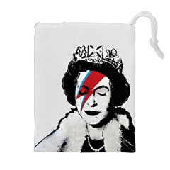 Banksy Graffiti Uk England God Save The Queen Elisabeth With David Bowie Rockband Face Makeup Ziggy Stardust Drawstring Pouch (xl) by snek