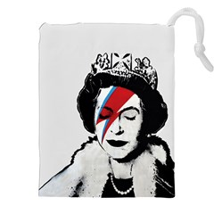 Banksy Graffiti Uk England God Save The Queen Elisabeth With David Bowie Rockband Face Makeup Ziggy Stardust Drawstring Pouch (2xl) by snek