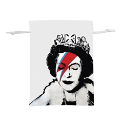 Banksy Graffiti Uk England God Save The Queen Elisabeth With David Bowie Rockband Face Makeup Ziggy Stardust Lightweight Drawstring Pouch (s) by snek