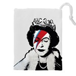 Banksy graffiti UK England God Save the Queen Elisabeth with David Bowie rockband face makeup Ziggy Stardust Drawstring Pouch (4XL) Front