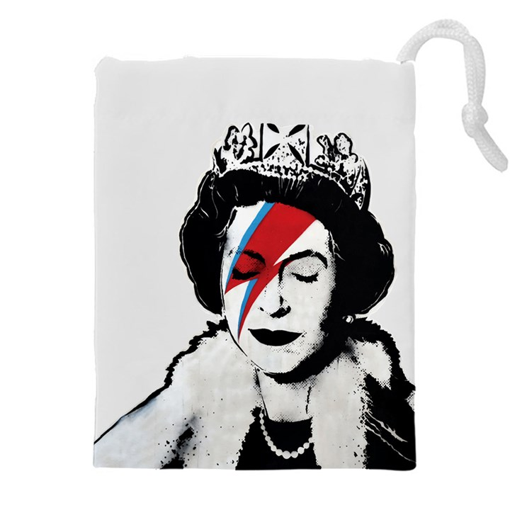 Banksy graffiti UK England God Save the Queen Elisabeth with David Bowie rockband face makeup Ziggy Stardust Drawstring Pouch (4XL)