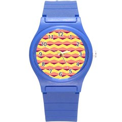 Background Colorful Chevron Round Plastic Sport Watch (s)