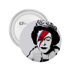 Banksy Graffiti Uk England God Save The Queen Elisabeth With David Bowie Rockband Face Makeup Ziggy Stardust 2 25  Buttons by snek