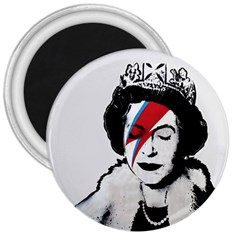 Banksy Graffiti Uk England God Save The Queen Elisabeth With David Bowie Rockband Face Makeup Ziggy Stardust 3  Magnets by snek