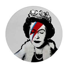 Banksy Graffiti Uk England God Save The Queen Elisabeth With David Bowie Rockband Face Makeup Ziggy Stardust Ornament (round) by snek