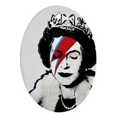 Banksy Graffiti Uk England God Save The Queen Elisabeth With David Bowie Rockband Face Makeup Ziggy Stardust Ornament (oval) by snek