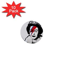 Banksy Graffiti Uk England God Save The Queen Elisabeth With David Bowie Rockband Face Makeup Ziggy Stardust 1  Mini Buttons (10 Pack)  by snek