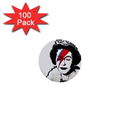 Banksy Graffiti Uk England God Save The Queen Elisabeth With David Bowie Rockband Face Makeup Ziggy Stardust 1  Mini Buttons (100 Pack)  by snek