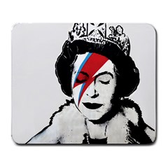 Banksy Graffiti Uk England God Save The Queen Elisabeth With David Bowie Rockband Face Makeup Ziggy Stardust Large Mousepads by snek