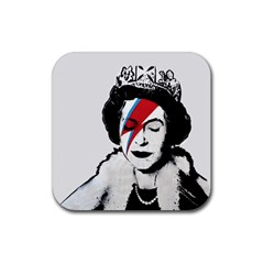 Banksy Graffiti Uk England God Save The Queen Elisabeth With David Bowie Rockband Face Makeup Ziggy Stardust Rubber Square Coaster (4 Pack)  by snek