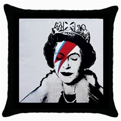 Banksy Graffiti Uk England God Save The Queen Elisabeth With David Bowie Rockband Face Makeup Ziggy Stardust Throw Pillow Case (black) by snek