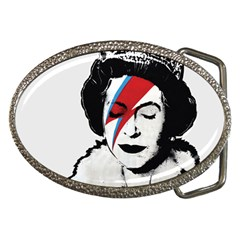 Banksy Graffiti Uk England God Save The Queen Elisabeth With David Bowie Rockband Face Makeup Ziggy Stardust Belt Buckles by snek