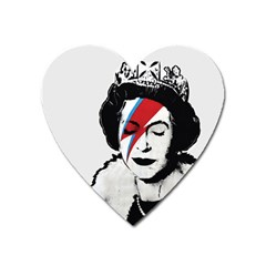 Banksy Graffiti Uk England God Save The Queen Elisabeth With David Bowie Rockband Face Makeup Ziggy Stardust Heart Magnet by snek