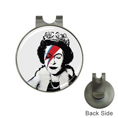 Banksy Graffiti Uk England God Save The Queen Elisabeth With David Bowie Rockband Face Makeup Ziggy Stardust Hat Clips With Golf Markers by snek