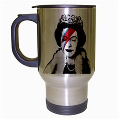 Banksy Graffiti Uk England God Save The Queen Elisabeth With David Bowie Rockband Face Makeup Ziggy Stardust Travel Mug (silver Gray) by snek