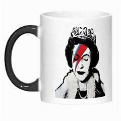 Banksy Graffiti Uk England God Save The Queen Elisabeth With David Bowie Rockband Face Makeup Ziggy Stardust Morph Mugs by snek
