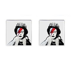 Banksy Graffiti Uk England God Save The Queen Elisabeth With David Bowie Rockband Face Makeup Ziggy Stardust Cufflinks (square) by snek