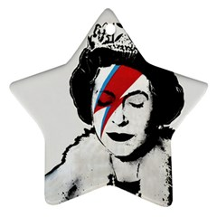 Banksy Graffiti Uk England God Save The Queen Elisabeth With David Bowie Rockband Face Makeup Ziggy Stardust Star Ornament (two Sides) by snek
