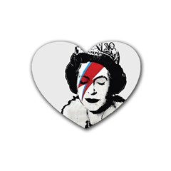 Banksy Graffiti Uk England God Save The Queen Elisabeth With David Bowie Rockband Face Makeup Ziggy Stardust Rubber Coaster (heart)  by snek