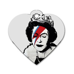 Banksy Graffiti Uk England God Save The Queen Elisabeth With David Bowie Rockband Face Makeup Ziggy Stardust Dog Tag Heart (two Sides) by snek