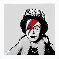 Banksy Graffiti Uk England God Save The Queen Elisabeth With David Bowie Rockband Face Makeup Ziggy Stardust Medium Glasses Cloth (2 Sides) by snek
